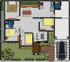 12 Denah Rumah Minimalis 3 Kamar Tidur denah rumah