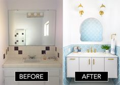 All it took was four months and some seriously gorgeous tile to makeover this bathroom. Before And After Room Makeover, Scallop Tiles, Secret Rooms, Wet Rooms, Dream Bathrooms, Small Bathrooms, Bathroom Furniture, Bathroom Ideas, Bath Ideas