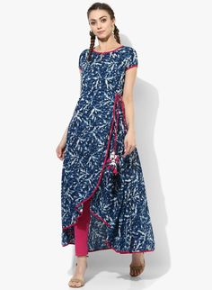 Buy Sangria Navy Blue Keyhole Neck High Low Anarkali Kurta online in India at best price.Blue in colour, this Anarkali kurta from Sangria is decked with abstract print all over, solid taping Simple Kurti Designs, Kurta Designs, Blouse Designs, Kurti Patterns, Dress Patterns, Indian Dresses, Indian Outfits, Kurta Style, Indigo Prints