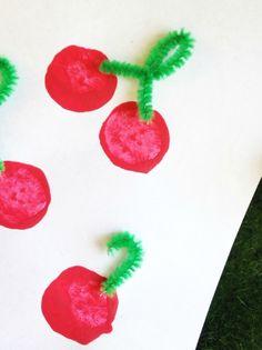 Wine Cork Cherry Stamp Craft for Kids
