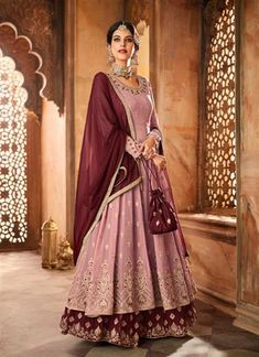 847fe92e8b Pink Georgette Embroidery Work Wedding Wear Designer Abaya Style Anarkali  Suit 110797 Georgette Fabric, Indian