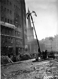 London, December 1940: Broadcasting house after an air raid. (Photo by H. F. Davis/Topical Press Agency/Getty Images)