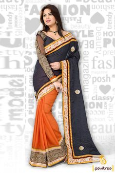 Orange black jacquard party wear saree is made great with resham works and embroidery works. The fabrics used are jacquard, art silk and net. #Sarees #Casual Sarees #Designer Sarees #Party Wear Sarees #Online Sarees #Indian Sarees #Embroidery work Sarees