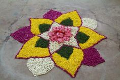 Simple Rangoli Designs for Diwali with Flowers