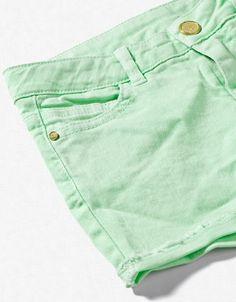 muted green neon denim short : zara