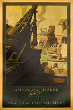 Stoops, Herbert M. poster: Ashtabula Harbor, Lake Erie - New York Central Lines