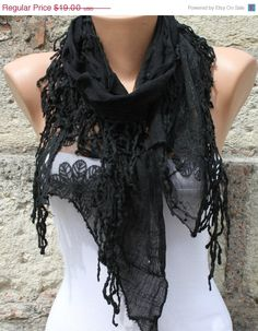 ON SALE Black Lace Scarf