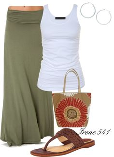 """Ready for summer"" by irene541 on Polyvore. Anything maxi I need a skirt, like needing separates for bathing suits. Plus this wouldn't make you look frumpy like a lot of maxi dresses would, because this has a waist.ditch the purse though"