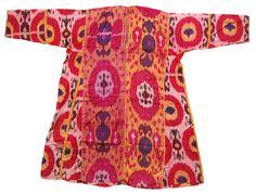 Turkmen woman's silk Ikat dress. N. Afghanistan