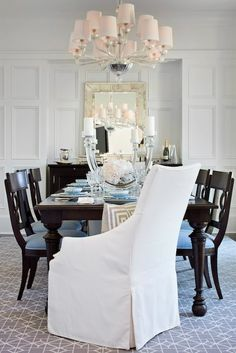 TRI Traci Rhoads Interiors - dining rooms - gray geometric rug, rectangular dining table, espresso dining table