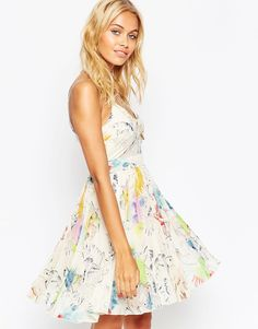 ASOS Sheer And Solid Pleated Cami Mini Dress in Tropical Print