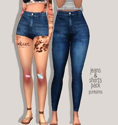 Jeans & shorts pack at Puresims via Sims 4 Updates