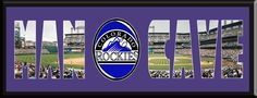 MAN CAVE - Personalized Framed Colorado Rockies Team Logo & Coors Field Stadium Large Panoramic Showing In Background With MANCAVE Letters Cut Out & Team Logo In Center-Framed Awesome & Beautiful-Must For Any Fan!