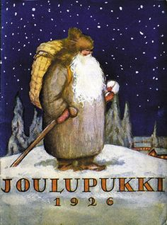 The real santa claus. This is the original santa claus that lives in Finland, Korvatunturi. He wore grey clothes and in this picture he has a traditional bark bag. Picture/Kuva: Helsingin kaupungin museo.