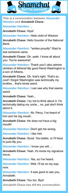 A conversation between Annabeth Chase and Alexander Hamiton