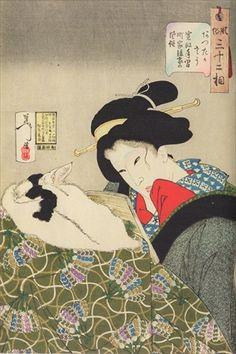 Tsukioka Yoshitoshi Figurative Print - Yoshitoshi Cat Japanese Woodblock Ukiyo-E Yoshitoshi Kimono 1888 Other Art Style Asian Cat, Japanese Painting, Japanese Artwork, Japanese Prints, Japan Art, Historical Maps, Vintage Wall Art, Woodblock Print, Chinese Art
