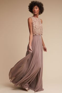 Cleo Top & Hampton Skirt from @BHLDN The top xs-xl. the skirt goes up to a 16.. The color is called pecan grey.