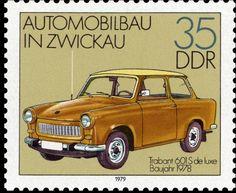 Briefmarke: Trabant 601 S de luxe (1978) (Deutschland (DDR)) (Automobile In Zwickau) Mi:DD 2413,Yt:DD BF52B