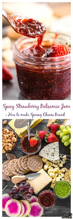 Spicy Strawberry Balsamic Jam is super easy to make + how to make a perfect cheese board for spring! Find the recipe on www.cookwithmanali.com