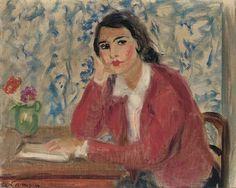 Artwork by Charles Camoin, Jeune femme brune à la veste rouge, Made of oil on canvas