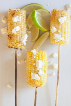 Grilled Corn on a Stick: View entire slideshow: Food on a Stick on http://www.stylemepretty.com/collection/548/