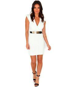 Antonia Structured Cross Over Dress - Dresses - Mini Dresses - Missguided