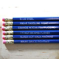 Zoolander pencil set.