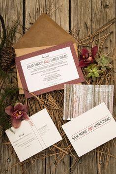 rustic lumberjack, ski lodge, mountain wedding invitations at Mango Ink!