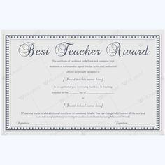 formal best teacher award certificate template certificate teachercertificate bestteacherofthemonth