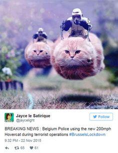 「速報・ベルギー警察はテロ摘発に時速200マイルの最新式ホバーキャットを使用 #ブリュッセル厳戒」というツイート