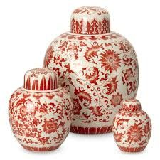 Red and White Ginger Jar Small Red/White White Porcelain, Porcelain Vase, Coffee Table Styling, Bottle Painting, Ginger Jars, Pottery Painting, Diy Wall Art, Chinoiserie, Ceramic Pottery