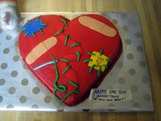 Heart Transplant my husband had a heart transplant and today (nov the one year anniversary! i saw this cake on the site and thought. Happy One Year Anniversary, Anniversary Parties, New Heart, Heart For Kids, Chd Awareness, Congenital Heart Defect, Happy Hearts Day, Organ Donation, Heart Party