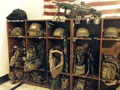 No Politics, Just Guns. Airsoft Storage, Ammo Storage, Weapon Storage, Tactical Survival, Survival Knife, Tactical Gear, Survival Gear, Tactical Wall, Gun Rooms