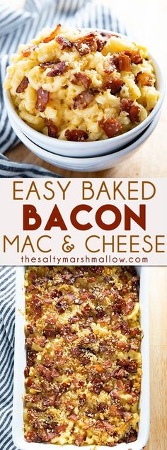Macaroni and Cheese with Bacon Gratin Bacon Mac and Cheese is a delicious and easy to make baked macaroni and cheese! Creamy, cheesy, macaroni is topped with bacon and breadcrumbs for an unforgettable meal! Bacon Mac And Cheese Recipe Baked, Macaroni And Cheese Bacon, Cheesy Mac And Cheese, Mac And Cheese Casserole, Mac Cheese Recipes, Pasta Cheese, Holiday Mac And Cheese Recipe, Mac And Chese Recipe, Mac And Cheese With Bacon Recipe Baked
