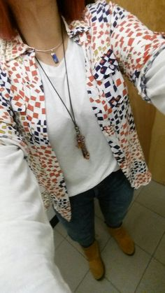 CAbi constellation skinny jeans, serene tee and grand prix blouse