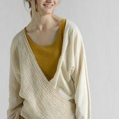 Loose linen oblique placket long sleeve T-shirt  #womens #top #shirt #looseshirt #longsleeve #linen #cotton