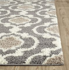"""Cozy Moroccan Trellis Gray/Cream 7'10"""" X 10' Indoor Shag Area Rug. Perfect for a living room or a dining room and if you have hardwood floors."""