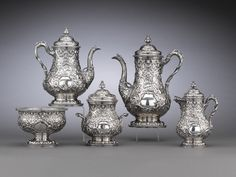 Antique Tiffany Silver Coffee Set, Tea Service Ivy Pattern Repousse 19th century 1853