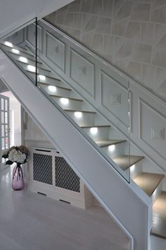 In the latest instalment of our Customer Stories series, we take a look at the contemporary staircase that we created for Peter and June Assenheim. They wanted an ultra-modern staircase in light oak with LED lights installed under the treads to subtly ill House Staircase, Modern Staircase, Staircase Design, Bespoke Staircases, Traditional Staircase, House Entrance, Entrance Hall, Carpet Stairs, Hallway Decorating