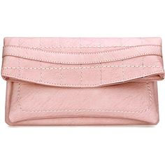 Yoins Pink Leather-look Fold Over Clutch Bag with Allover Seam Detail (50 BAM) via Polyvore featuring bags, handbags, clutches, yoins, bolsas, bolsos, pink, foldover handbags, faux leather purses and pink clutches