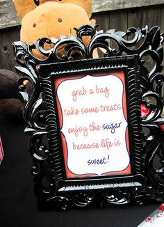 treat bag table sign