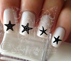Black Starfish Nail Art Nail Water Decals