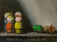 """Black Lives Do Matter, For We Too, Are America!""    --Charles Stonewall (visual artist and friend)    #blacklivesmatter 1, oil on board, from the collection of Melissa and Renee   Amator    Over the past four months, I have been working on a series of six paintings   called #blacklivesmat"