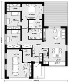 Projekt domu Nila 2 116,51 m2 - koszt budowy - EXTRADOM House Outer Design, Small House Design, Small House Floor Plans, New House Plans, Facade House, Home Design Plans, New Homes, Flooring, How To Plan