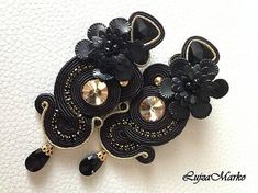 Soutache black&gold long with rose elegant earrings