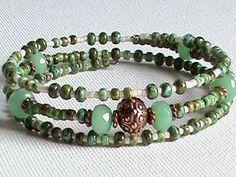 Memory Wire Bracelet Pale Green Jade Antique by JewelrybyJandK, $22.00