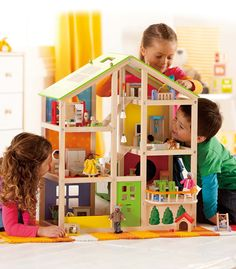 All Seasons Kids Wooden Dollhouse by Hape Award Winning 3 Story Dolls House Toy with Furniture, Accessories, Movable Stairs and Reversible Season Theme, Wooden Dolls House Furniture, Dollhouse Furniture, Home Furniture, Furniture Sets, Dollhouse Toys, Wooden Dollhouse, Dollhouse Ideas, Toddler Toys, Kids Toys
