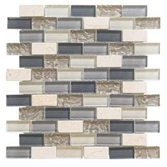 Jeffrey Court Cedar Cove 12 in. x 12 in. x 8 mm Glass Travertine Mosaic Wall Tile-99431 - The Home Depot