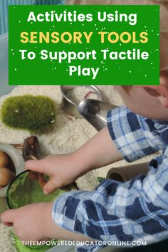 Sensory Activity Ideas And Tools To Support Sensory Play - Regularly exposing children to sensory play activities is one of the best ways that educators and parents can support children to challenge themselves with new textures and experiences. If you're not sure how to introduce play activities using sensory tools to support tactile play and children who don't like messy hands, this post will give you lots of ideas to get started. | The Empowered Educator Toddler Sensory Bins, Baby Sensory, Sensory Play, Toddler Preschool, Sensory Tools, Sensory Activities, Infant Activities, Play Based Learning, Early Learning