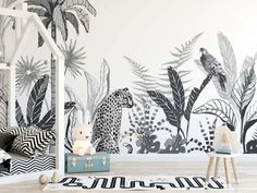 Tropical zone & art wall mural - Art Wall Bazaar - Beyond your imagination- Art Wall Bazaar - Beyond your imaginationTropical zone - art wall mural in restaurantTropical z Imagination Art, Mural Wall Art, White Art, Pattern Wallpaper, Wall Sticker, Wordpress, Wall Decor, Blog, Grey Wood